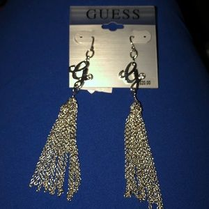 "New Guess silver G Earrings 4"" long tassels chain"